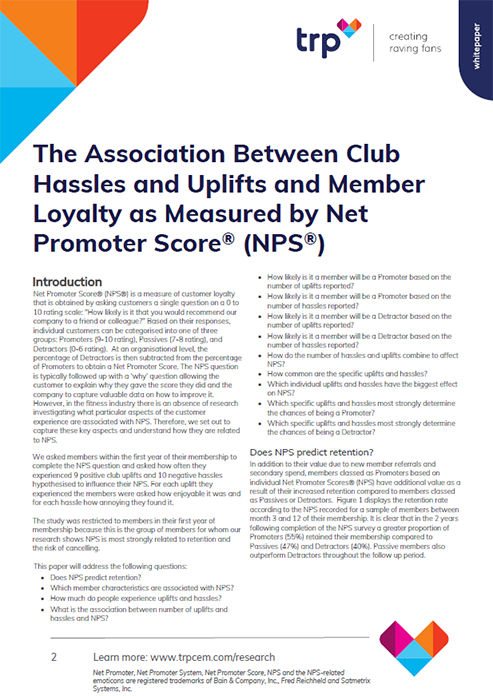 The Association Between Club Hassles and Uplifts and Member Loyalty as Measured by Net Promoter Score® (NPS®)
