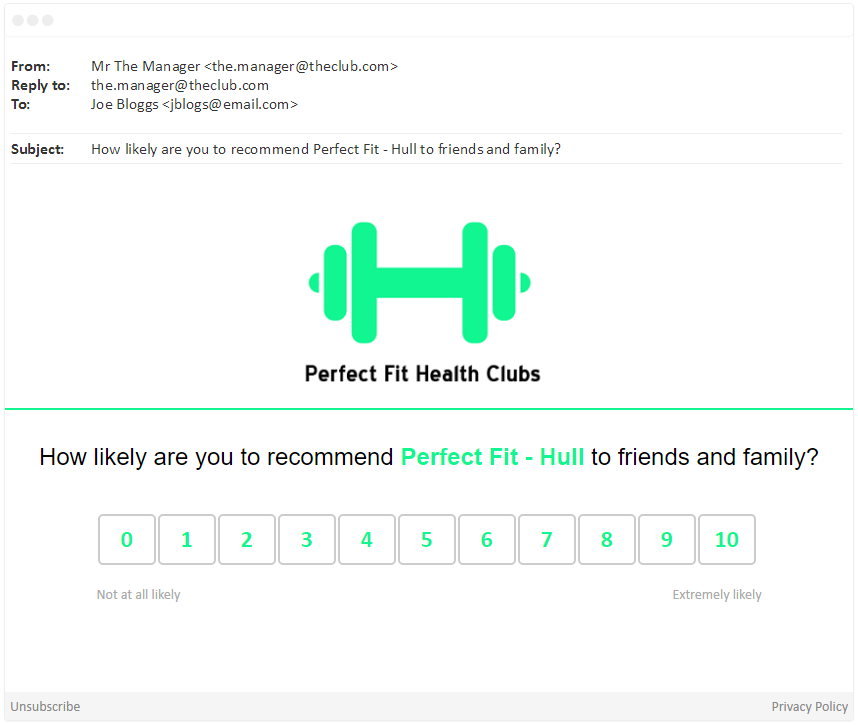 Perfect Fit Health Clubs NPS® Question