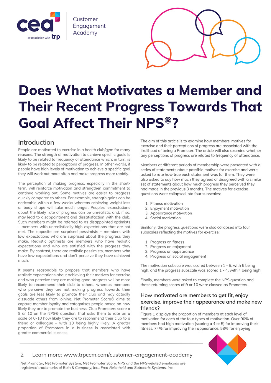 Does What Motivates a Member and Their Recent Progress Towards That Goal Affect Their Net Promoter Score® (NPS®) Report Cover Image